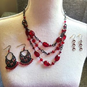 Red Gothic Necklace and Earring Set
